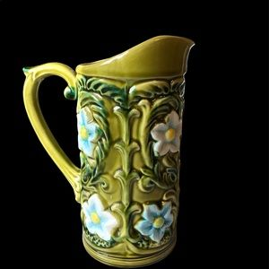 Geo Z Lefton 1970 Green Floral Pitcher Vase